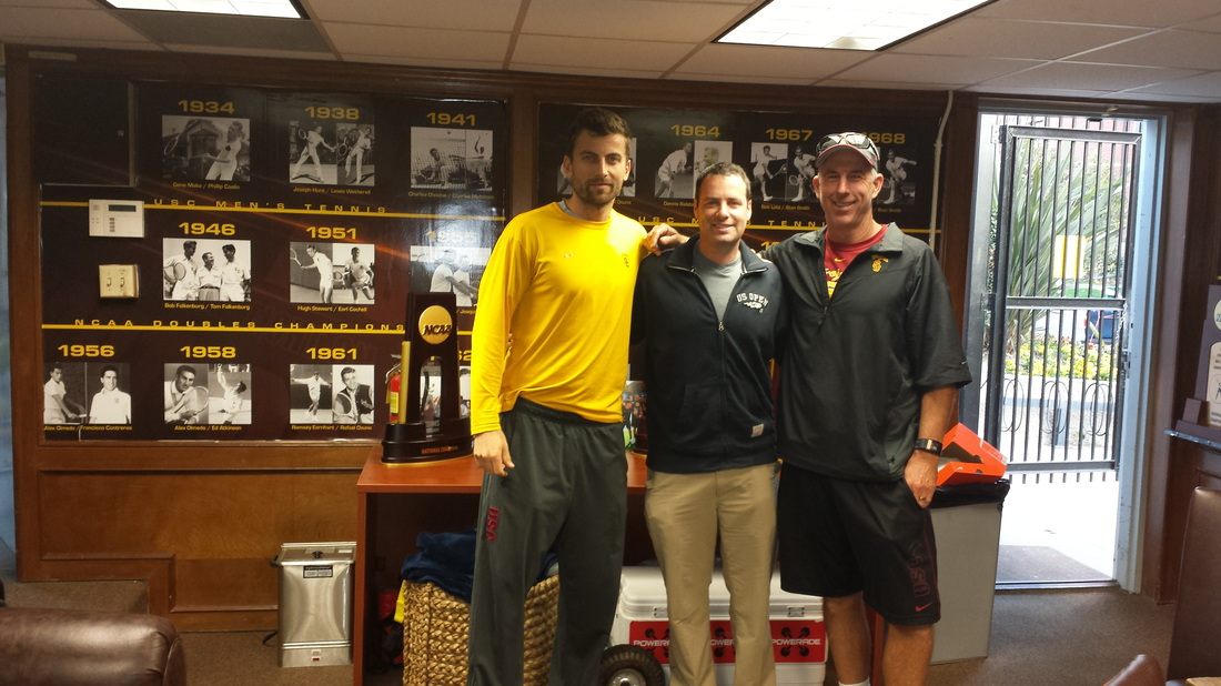 Mark Kovacs Working with the USC Mens Tennis Team During 2013 2014 National Championship Season